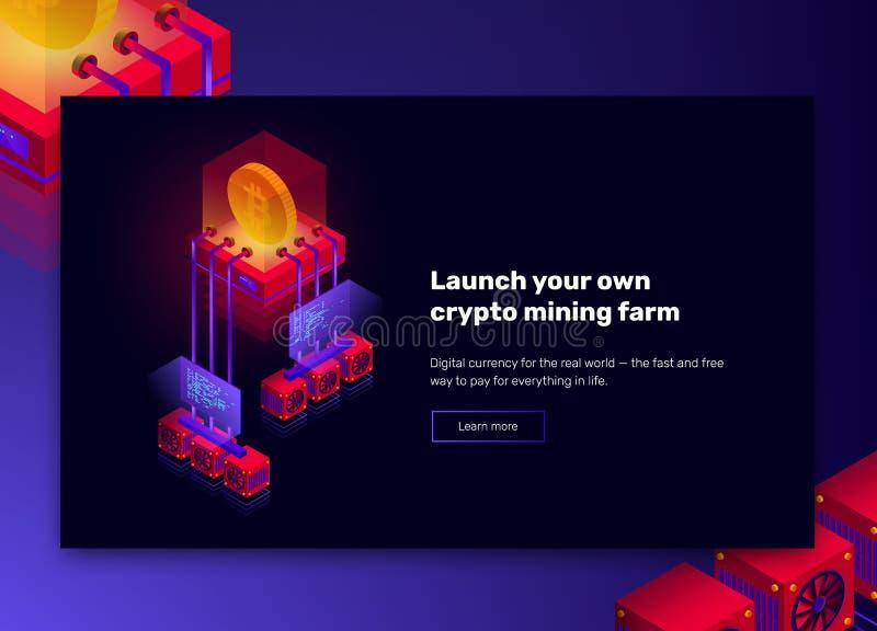 Vectorillustratie van het landbouwbedrijf van de cryptocurrencymijnbouw, grote gegevens - verwerking voor bitcoin, blockchain iso vector illustratie