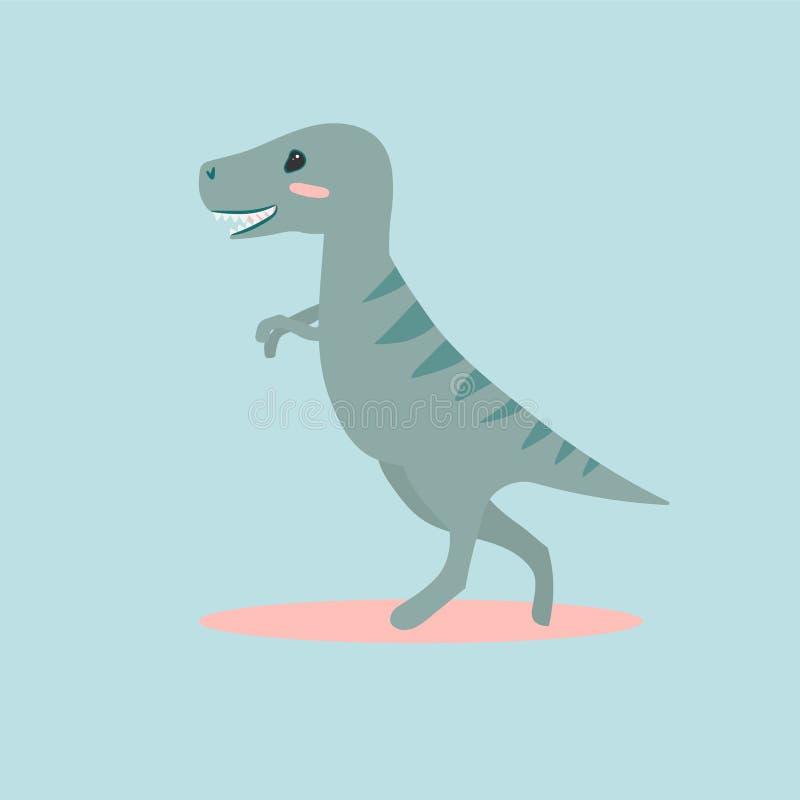 Vectorillustratie van het leuke karakter van beeldverhaaldino voor kinderen en schrootboek T -t-rex, tyrannosaurus stock illustratie
