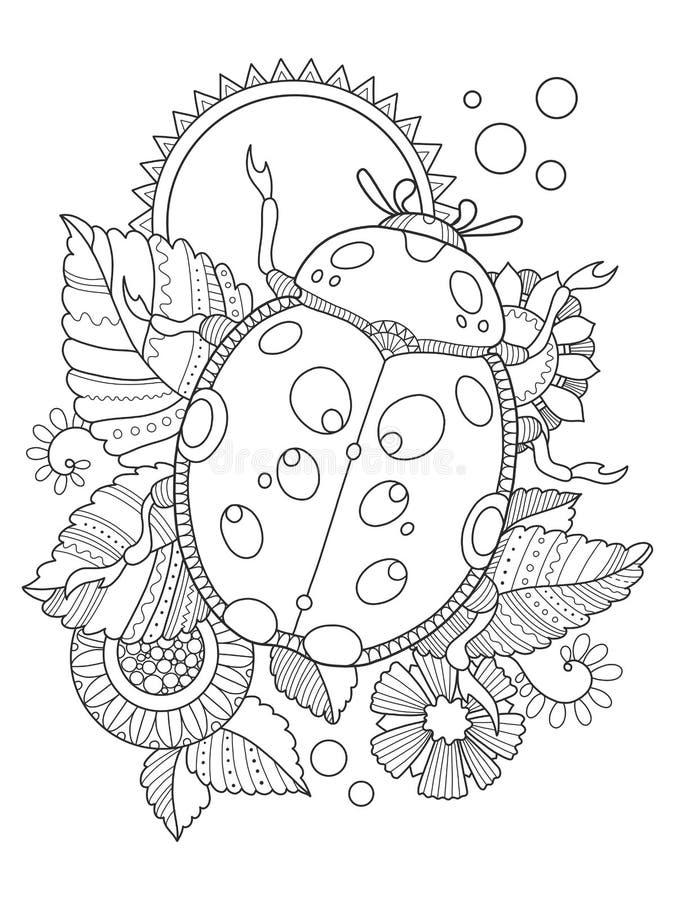Vectorillustratie van het lieveheersbeestje de kleurende boek stock illustratie