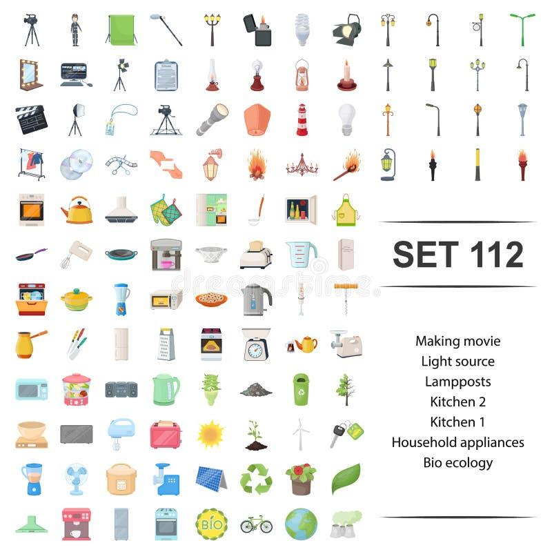 Vectorillustratie van het maken van film, licht, bron, lamppost, reeks van het de ecologiepictogram van keukenhuishoudapparaten d stock illustratie
