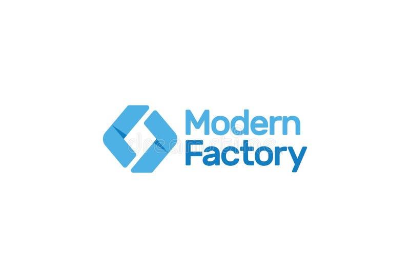 Vectorillustratie van het moderne ontwerp van het fabrieksembleem royalty-vrije illustratie