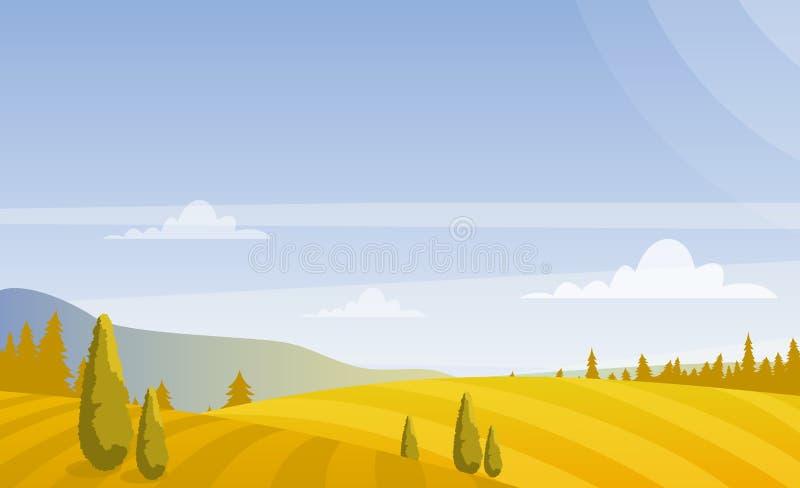 Vectorillustratie van het mooie landschap van de herfstgebieden met hemel en bergen in pastelkleuren Plattelandsconcept binnen stock illustratie