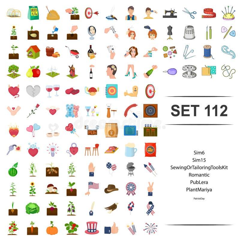 Vectorillustratie van het naaien, het maken, hulpmiddel, uitrusting, romantische het pictogramreeks van de barinstallatie vector illustratie