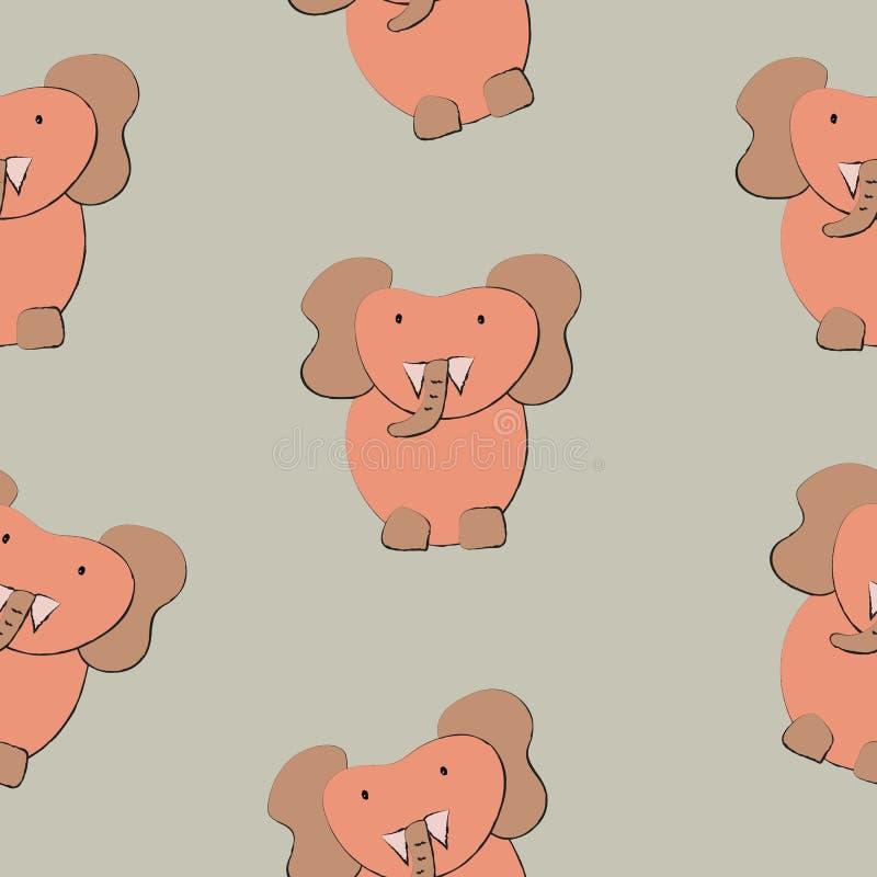 Vectorillustratie van het olifanten de naadloze patroon stock illustratie