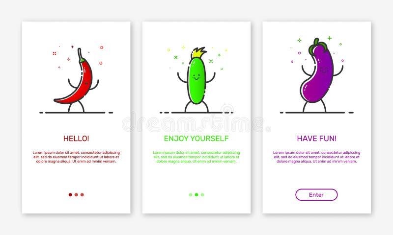 Vectorillustratie van het onboarding van app de schermen en de groentenpictogrammen van het overzichtsweb voor mobiele apps royalty-vrije illustratie