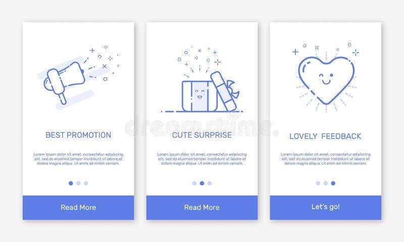 Vectorillustratie van het onboarding van app de schermen en de vlakke pictogrammen van het lijnweb voor elektronische handel mobi royalty-vrije illustratie