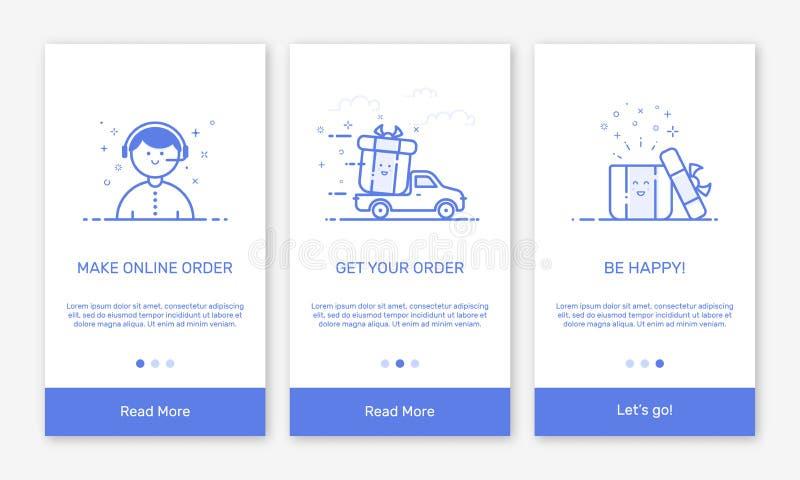 Vectorillustratie van het onboarding van app de schermen en de vlakke pictogrammen van het lijnweb voor elektronische handel mobi stock illustratie