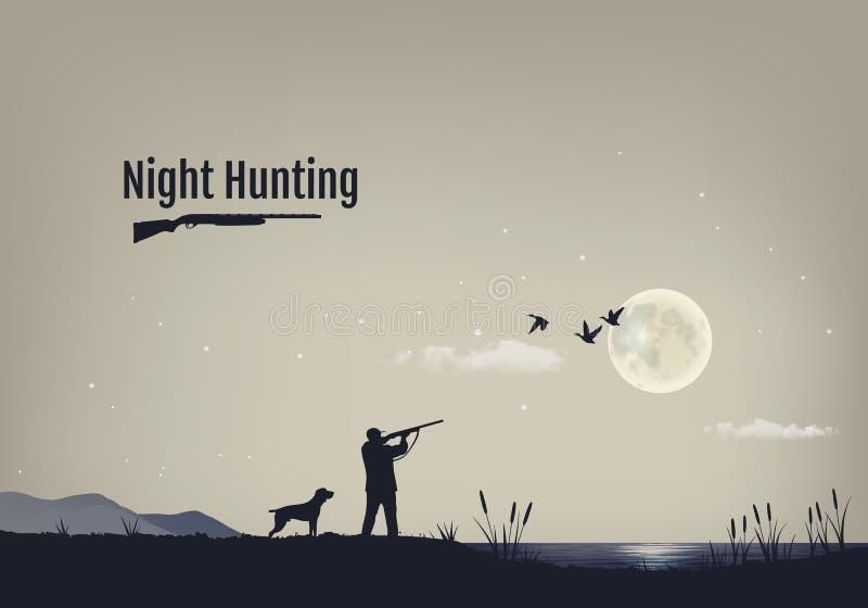 Vectorillustratie van het proces om voor eenden in de nacht te jagen Silhouetten van een jachthond met de jager royalty-vrije illustratie