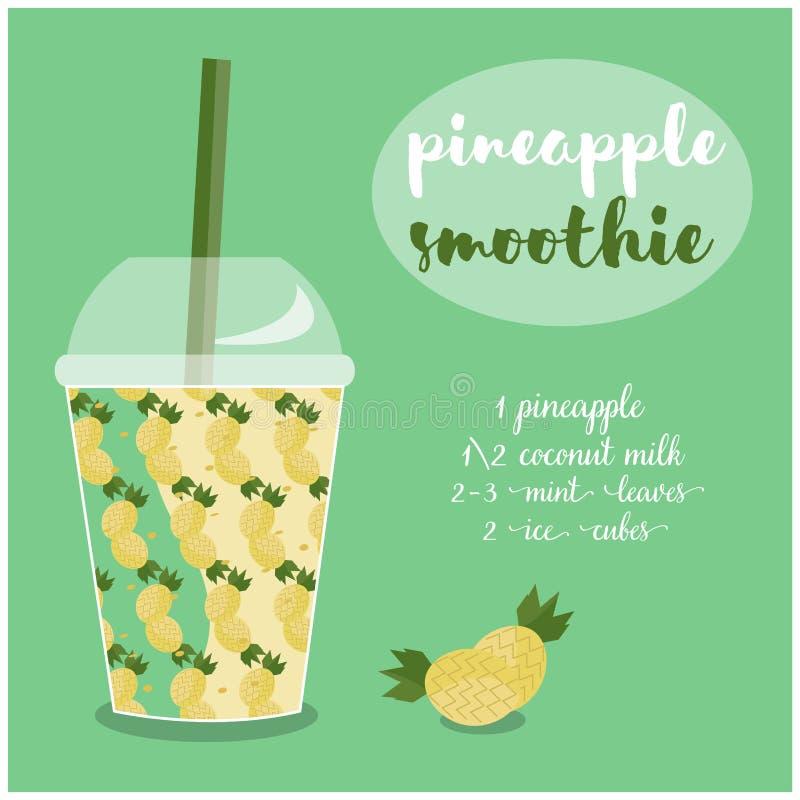 Vectorillustratie van het recept van Ananassmoothie met ingrediënten royalty-vrije illustratie