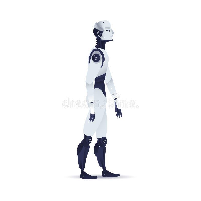 Vectorillustratie van het robot de cybernetische organisme voor kunstmatige intelligentieconcept royalty-vrije illustratie