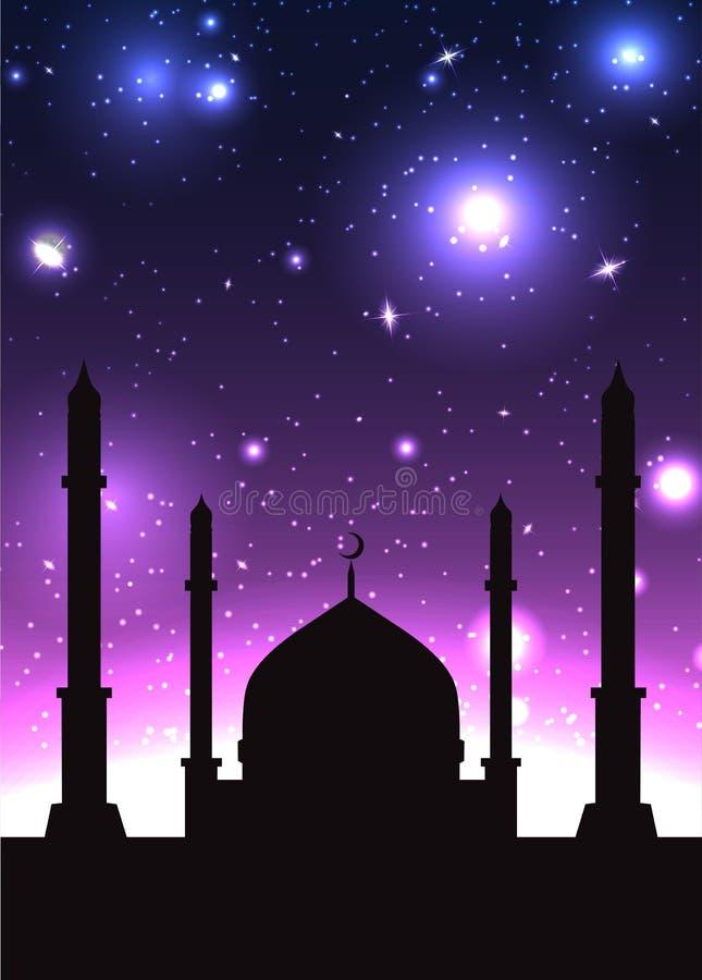 Vectorillustratie van het silhouet van moskee royalty-vrije illustratie