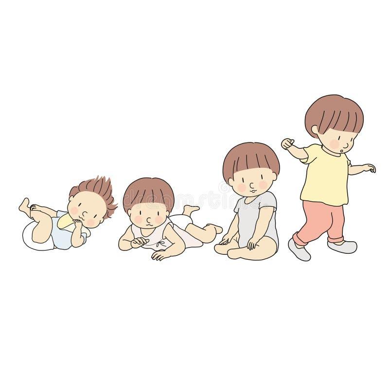Vectorillustratie van het stadium van de babygroei in eerste jaar Reeks van het liggen, over rollend, het kruipen, het zitten, he stock illustratie