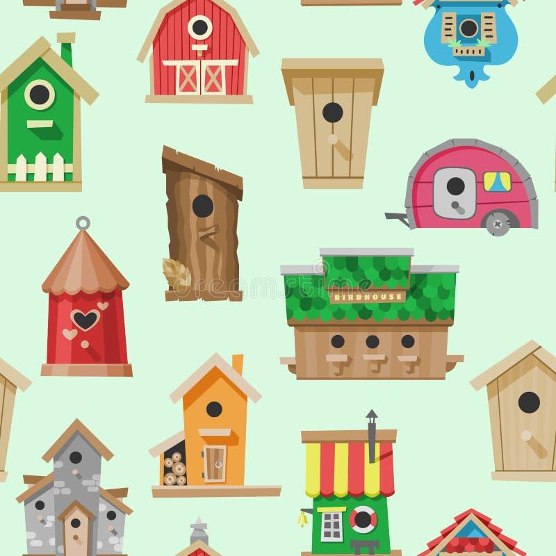 Vectorillustratie van het vogelhuizen de naadloze patroon Het nestelen dozen op boom te hangen Houten kleurrijke bouw aan voer vector illustratie