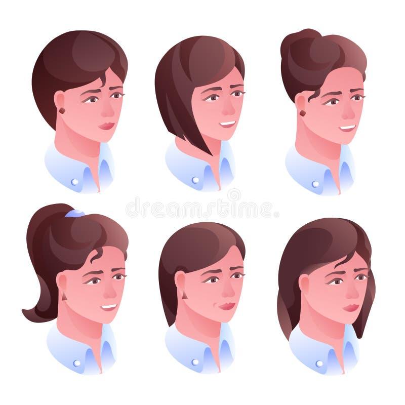 Vectorillustratie van het vrouwen de hoofdkapsel stock illustratie