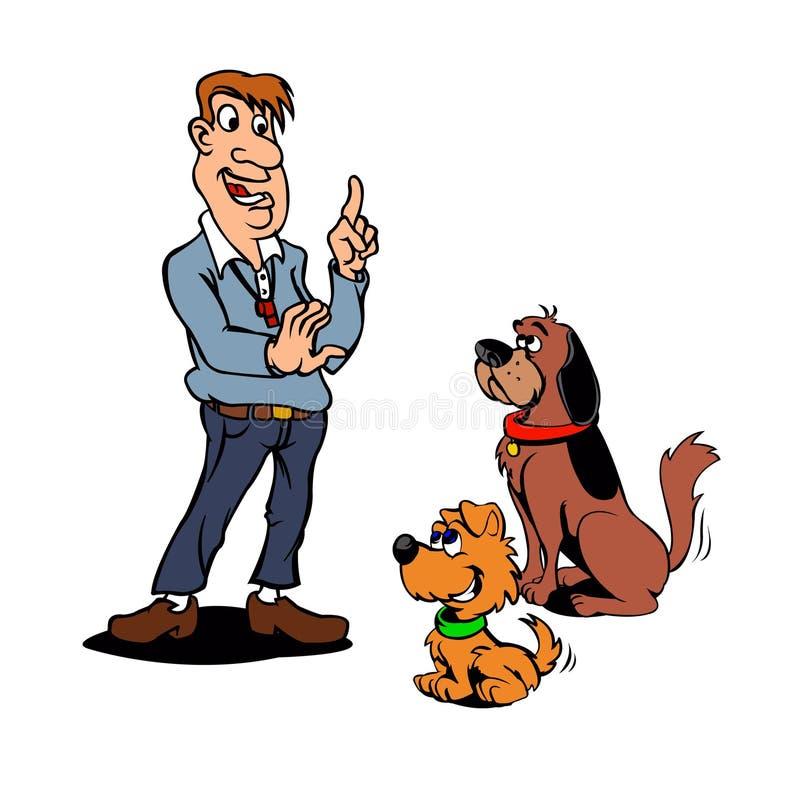 Vectorillustratie van Honden en Trainer vector illustratie