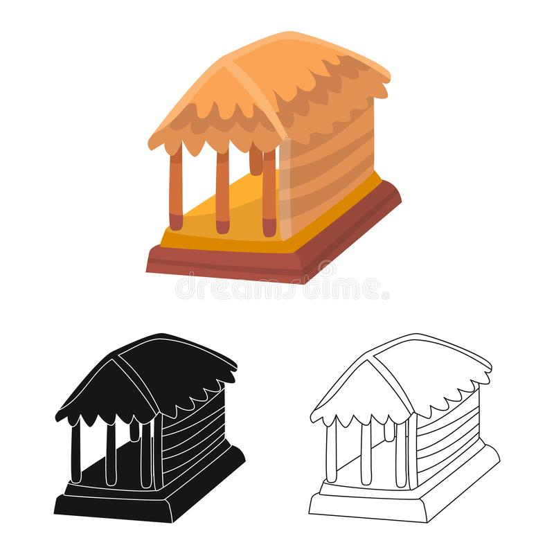 Vectorillustratie van hut en huispictogram Reeks van hut en gazebovoorraadsymbool voor Web vector illustratie