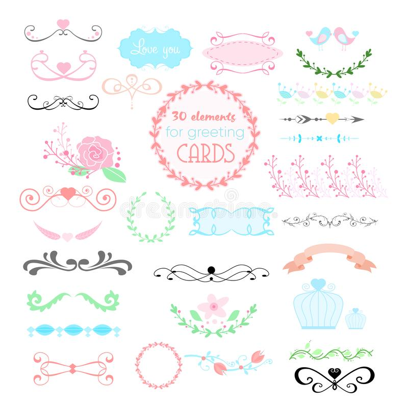 Vectorillustratie van huwelijks grafische reeks, pijlen, harten, laurier, kronen, linten, etiketten en andere elementen binnen vector illustratie
