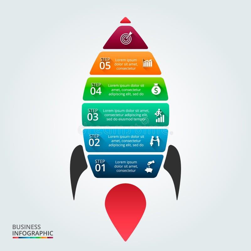 Vectorillustratie van infographic met raket stock afbeelding