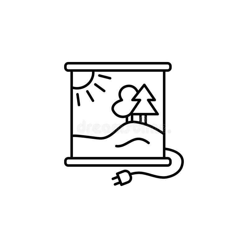 Vectorillustratie van infrarood verwarmend paneel met druk lijn i royalty-vrije illustratie
