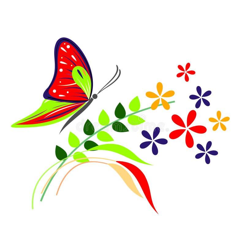 Vectorillustratie van insect, rode die vlinder, bloemen en takken met bladeren, op de witte achtergrond worden geïsoleerd royalty-vrije illustratie