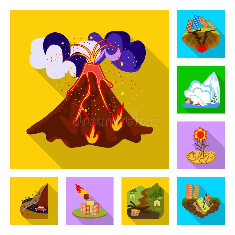 Vectorillustratie van instorting en milieupictogram Reeks van instorting en noodvoorraadsymbool voor Web royalty-vrije illustratie