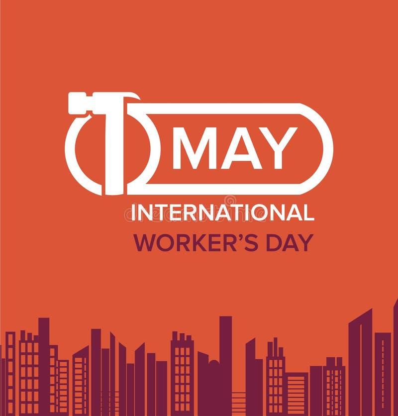 Vectorillustratie van Internationale Dag van de Arbeidachtergrond royalty-vrije illustratie