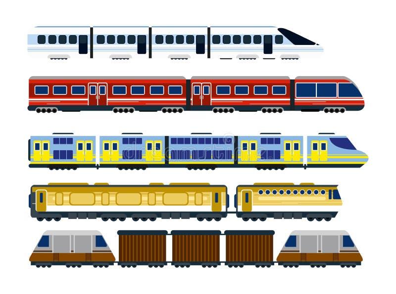 Vectorillustratie van inzameling van moderne spoorweglocomotieven, reeks passagierswagens en snelheidstreinen in vlakte vector illustratie