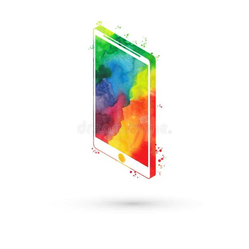 Vectorillustratie van isometrische waterverfsmartphone, regenboogverven Moderne slimme telefoon royalty-vrije illustratie
