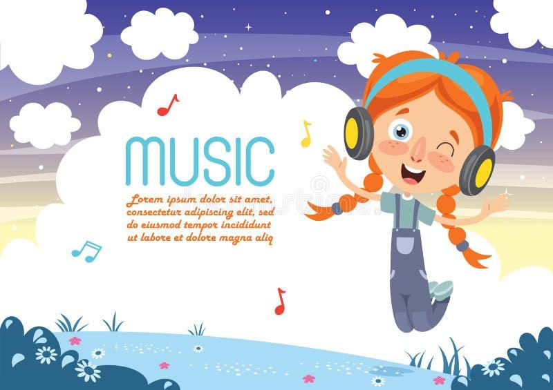 Vectorillustratie van Jong geitje het Luisteren Muziek vector illustratie