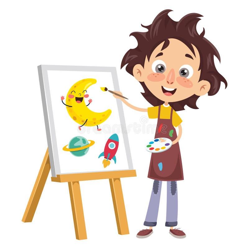 Vectorillustratie van Jong geitje het Schilderen royalty-vrije illustratie