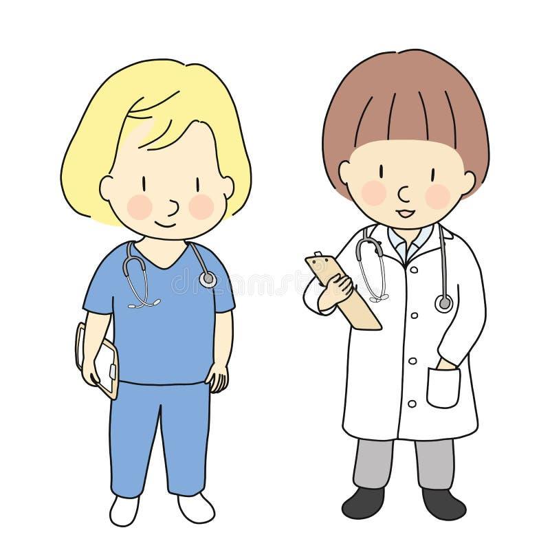 Vectorillustratie van jong geitjeberoepen, arts en verpleegster Wat ik wil zijn wanneer groei Het kostuum van kinderenberoepen Ki vector illustratie
