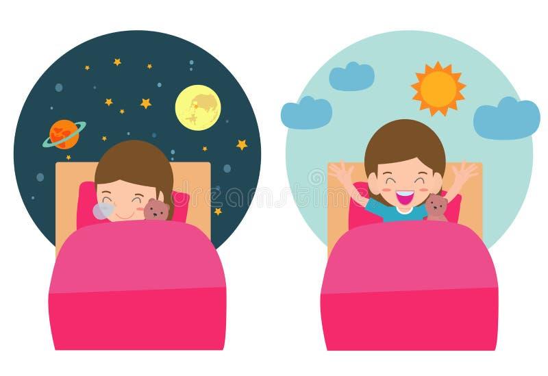 Vectorillustratie van Jong geitjeslaap en het Wekken, kindslaap op vanavond dromen, goede nacht en zoete dromen vector illustratie