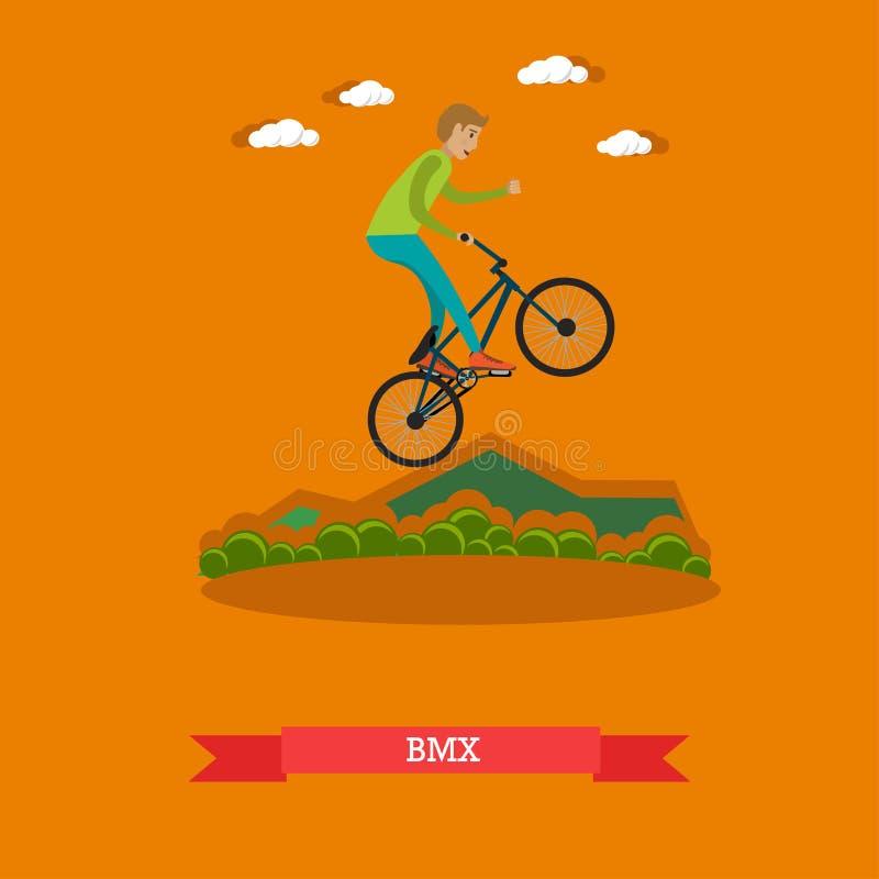 Vectorillustratie van jongens berijdende bmx fiets in vlakke stijl stock illustratie