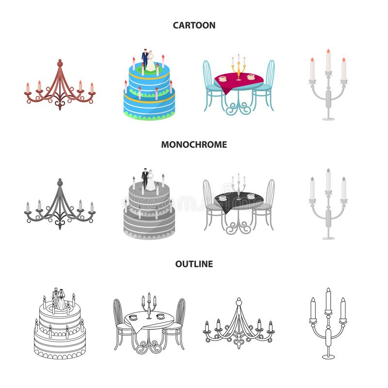 Vectorillustratie van kaars en kandelaarpictogram Inzameling van kaars en kerkvoorraad vectorillustratie royalty-vrije illustratie