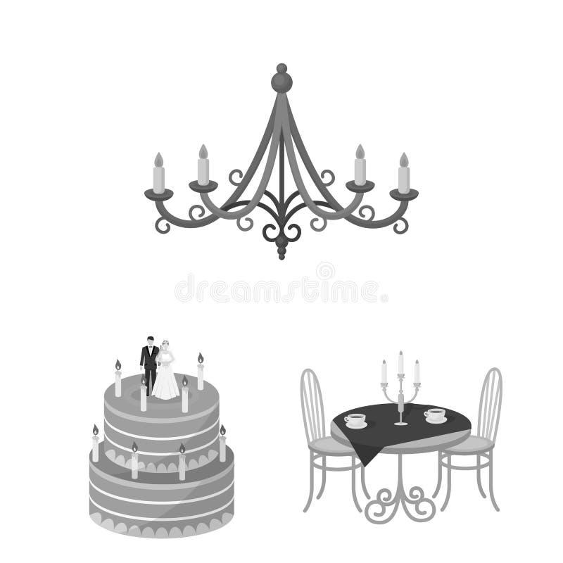 Vectorillustratie van kaars en kandelaarteken Reeks van kaars en kerkvoorraad vectorillustratie stock illustratie