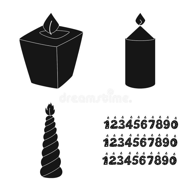 Vectorillustratie van kaarslicht en decoratieembleem Inzameling van kaarslicht en het symbool van de wasvoorraad voor Web stock illustratie