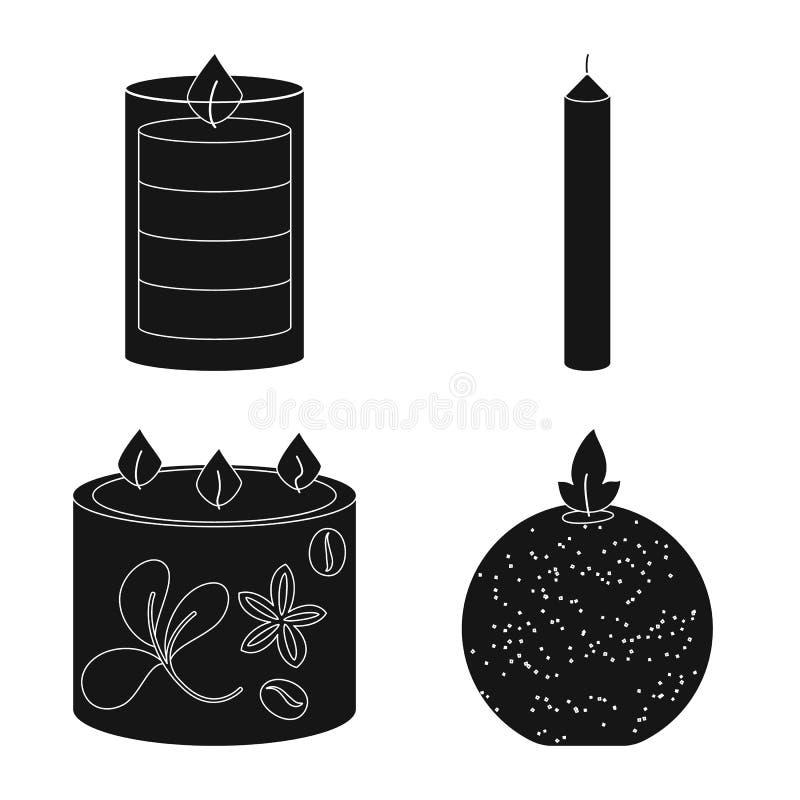 Vectorillustratie van kaarslicht en decoratieembleem Inzameling van kaarslicht en was vectorpictogram voor voorraad royalty-vrije illustratie