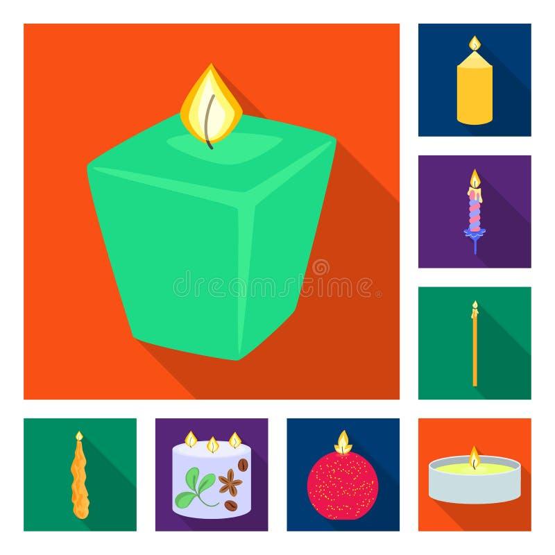 Vectorillustratie van kaarslicht en decoratieembleem Reeks van kaarslicht en het symbool van de vlamvoorraad voor Web royalty-vrije illustratie
