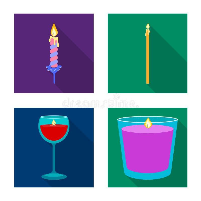 Vectorillustratie van kaarslicht en decoratiepictogram Reeks van kaarslicht en het symbool van de vlamvoorraad voor Web royalty-vrije illustratie