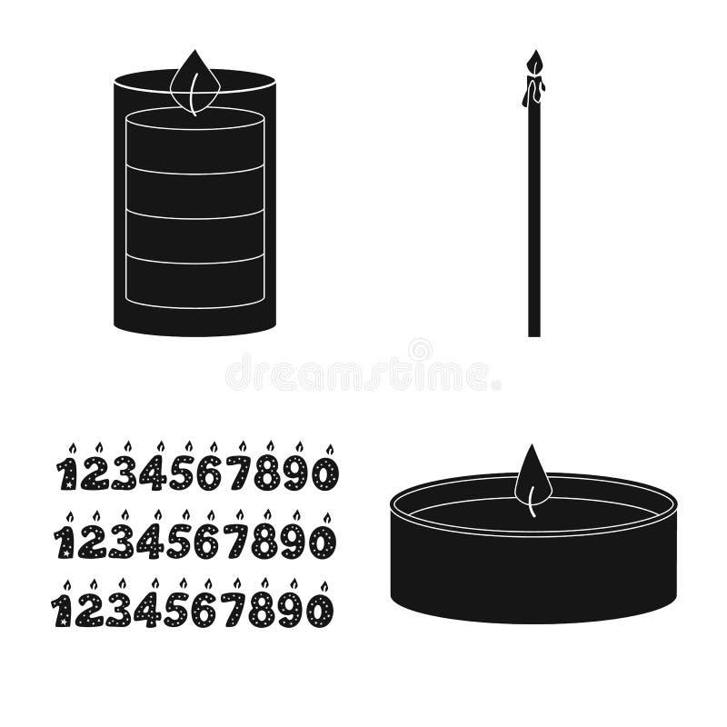 Vectorillustratie van kaarslicht en decoratiepictogram Reeks van kaarslicht en het symbool van de wasvoorraad voor Web stock illustratie
