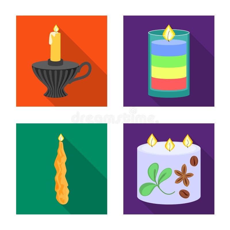 Vectorillustratie van kaarslicht en decoratiesymbool Inzameling van kaarslicht en de vectorillustratie van de vlamvoorraad royalty-vrije illustratie