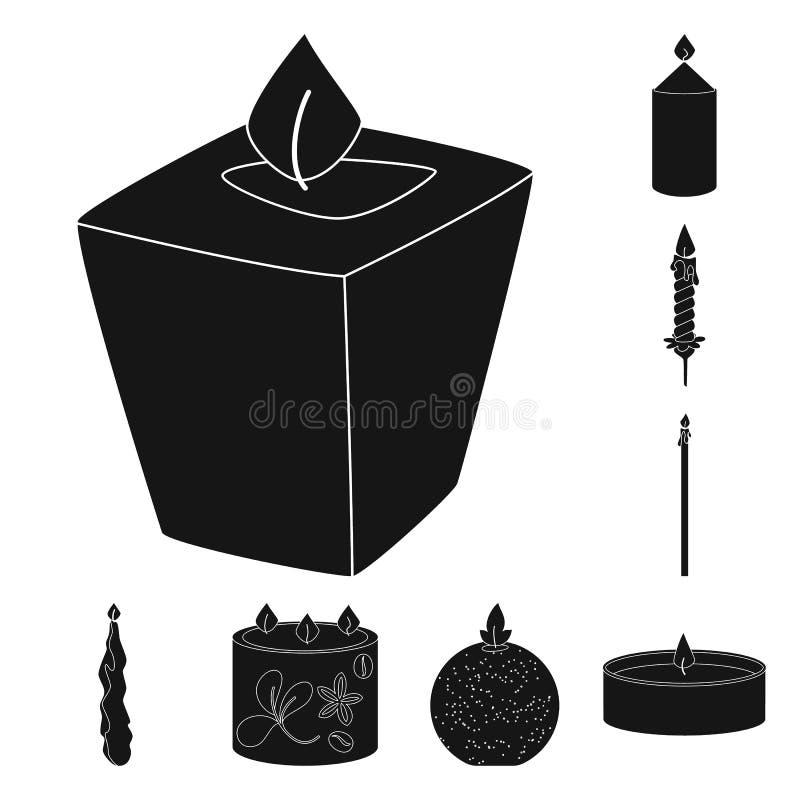 Vectorillustratie van kaarslicht en decoratiesymbool Inzameling van kaarslicht en het symbool van de wasvoorraad voor Web stock illustratie