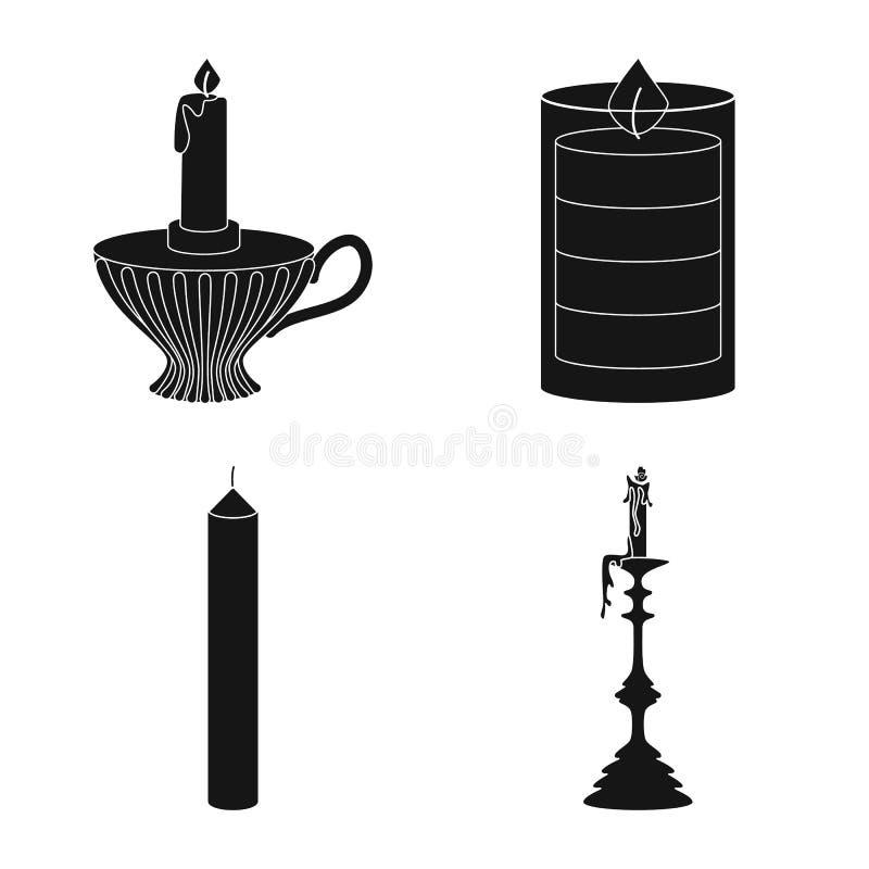 Vectorillustratie van kaarslicht en decoratiesymbool Reeks van kaarslicht en was vectorpictogram voor voorraad royalty-vrije illustratie