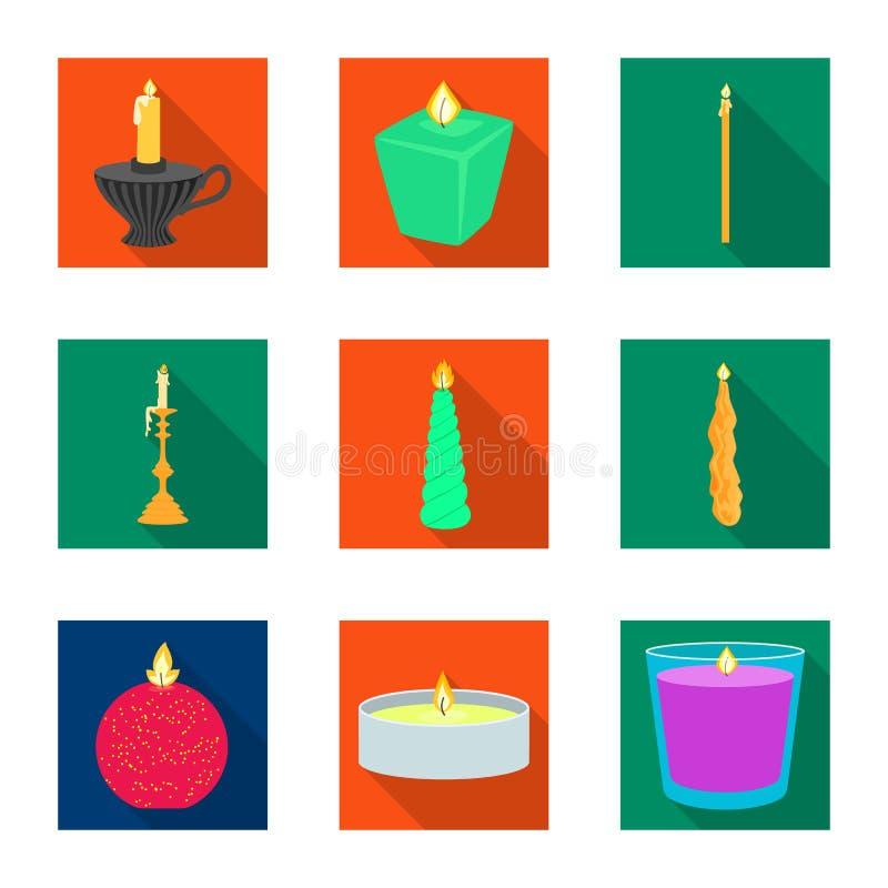 Vectorillustratie van kaarslicht en decoratieteken Inzameling van kaarslicht en het symbool van de vlamvoorraad voor Web vector illustratie