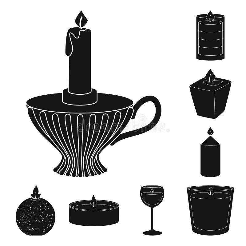 Vectorillustratie van kaarslicht en decoratieteken Inzameling van kaarslicht en was vectorpictogram voor voorraad vector illustratie