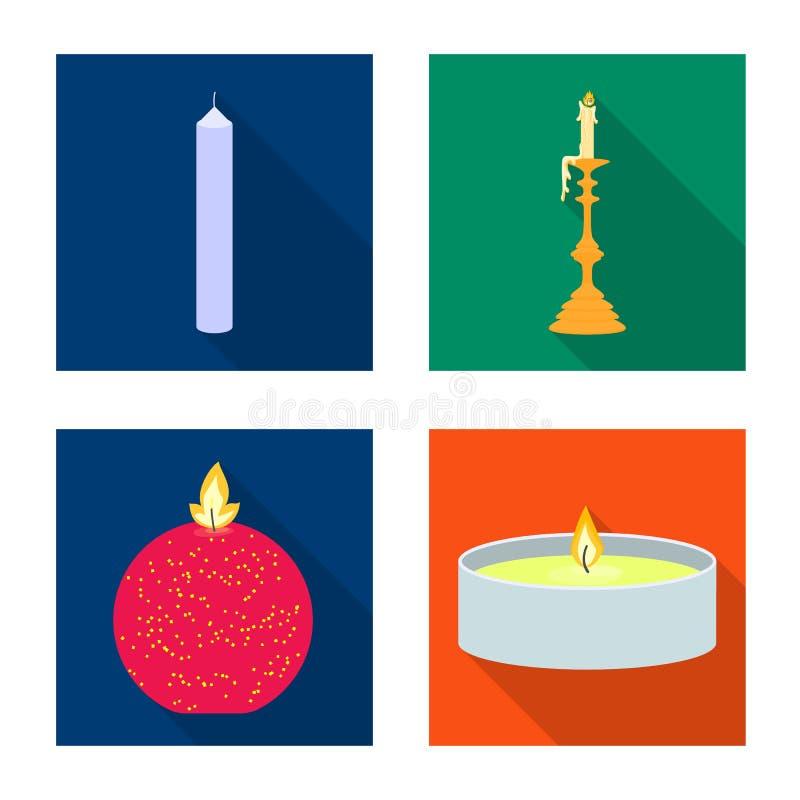 Vectorillustratie van kaarslicht en decoratieteken Reeks van kaarslicht en het symbool van de vlamvoorraad voor Web stock illustratie