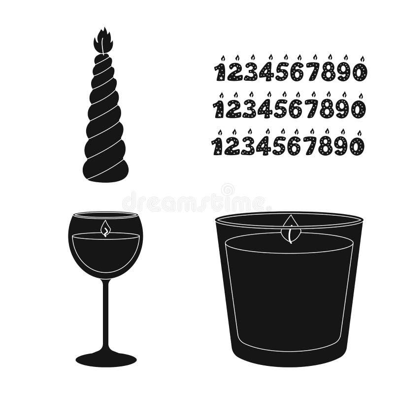 Vectorillustratie van kaarslicht en decoratieteken Reeks van kaarslicht en het symbool van de wasvoorraad voor Web royalty-vrije illustratie