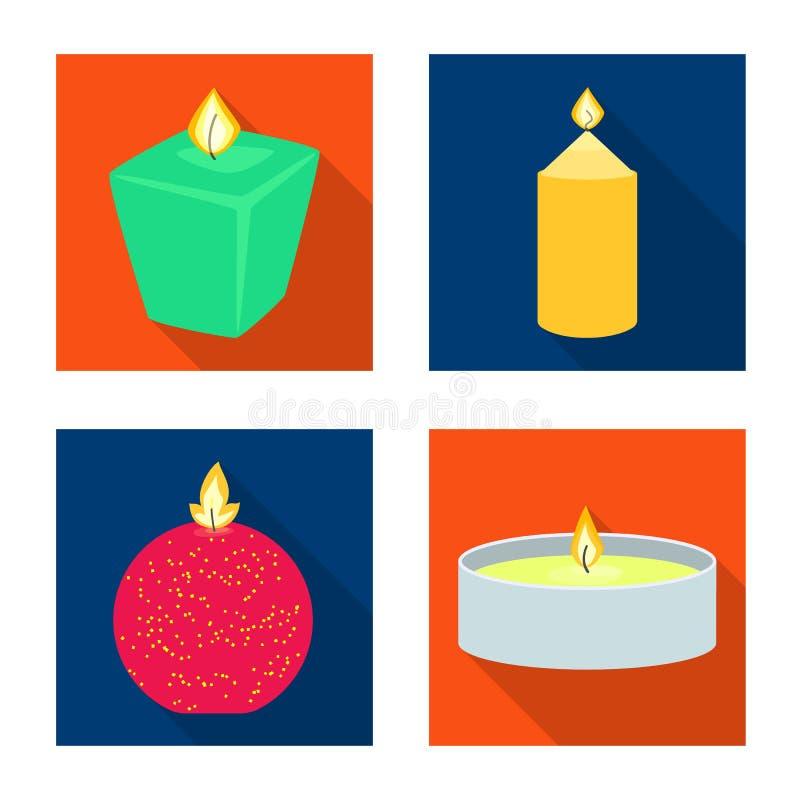 Vectorillustratie van kaarslicht en decoratieteken Reeks van kaarslicht en vlam vectorpictogram voor voorraad royalty-vrije illustratie