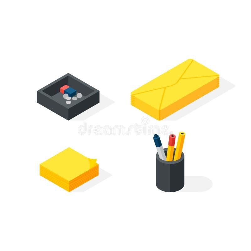 Vectorillustratie van kantoorbehoeften de isometrische pictogrammen vector illustratie