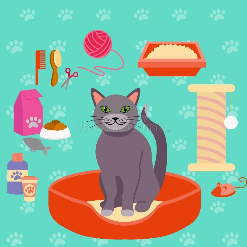 Vectorillustratie van kat en de verschillende toebehoren van de Huisdierenzorg voor katten pictogrammeninzameling in vlakke stijl royalty-vrije illustratie